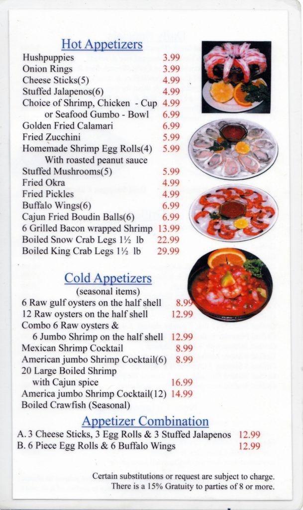 Texas Seafood And Steak House Brenham Menus